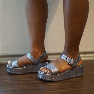 ASOS Pewter Blue Glitter Platform Wedge Sandals